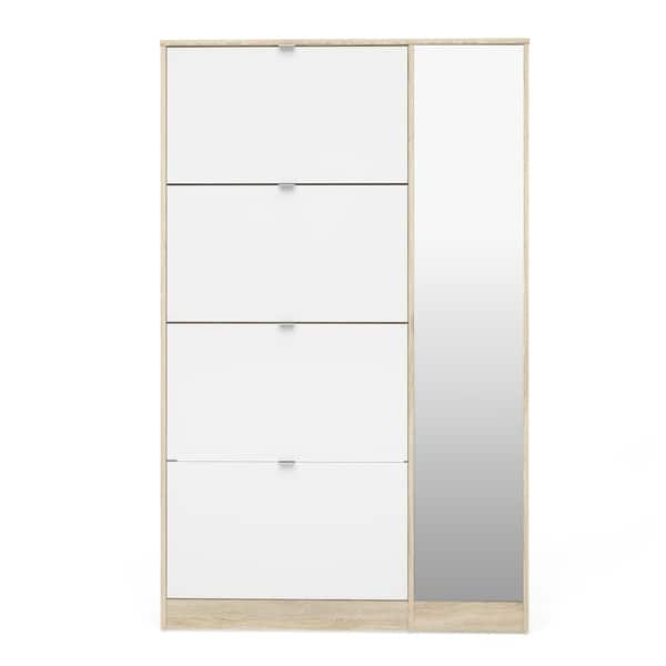 Shop Bright Oak And White High Gloss 4 Flap Doors Shoe Cabinet