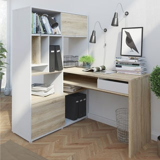 Weston White and Oak 1-drawer 2-sliding-door Student Desk