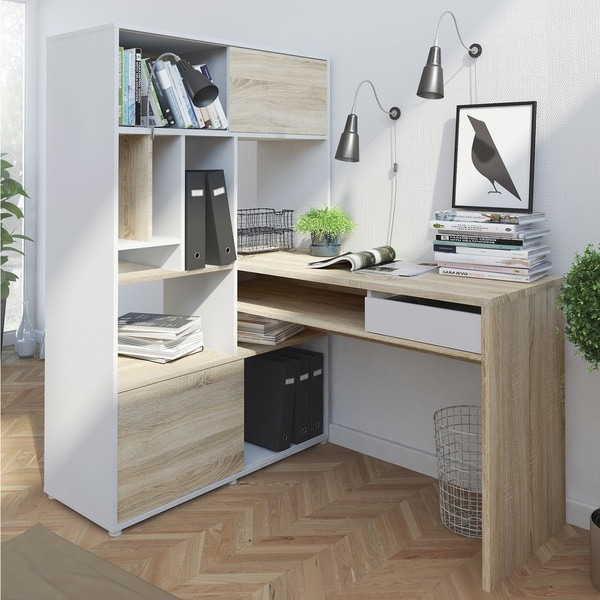 Porch & Den SkylarWhite and Oak 1-drawer 2-sliding-door Student Desk