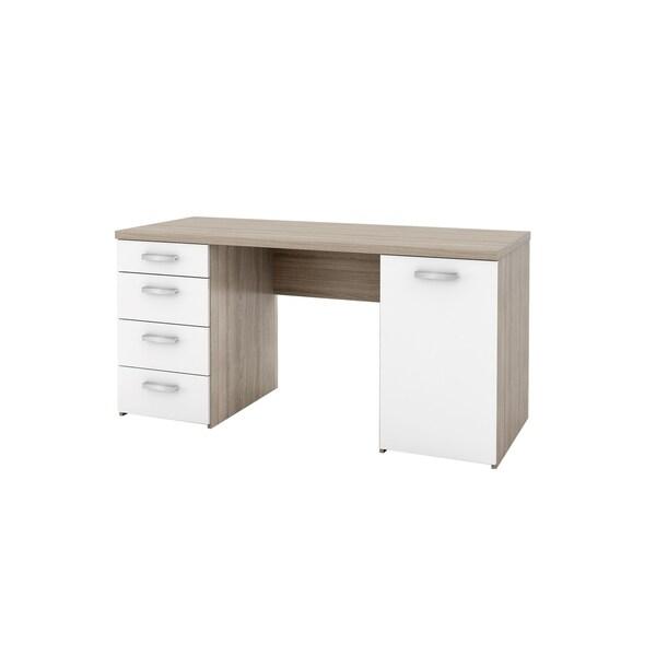 Porch & Den SkylarOak and White 4-drawer 1-door Rectangular Desk