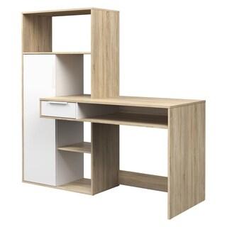 Weston White and Oak 1-drawer 1-door Student Desk