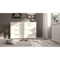 Homeline Oak and White High Gloss 8-drawer Double Dresser