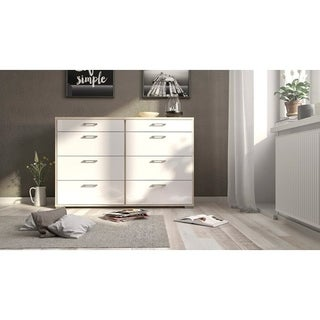 Homeline Oak and White High Gloss 8-drawer Double Dresser