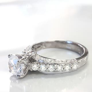Lihara and Co. 18k White Gold 2/3ct TDW White Diamond Semi-Mount Engagement Ring (G-H, VS1-VS2) - White G-H