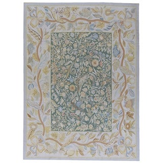 """Pasargad Aubusson Ivory Hand-Woven Wool Area Rug (10'10"""" X 16' 3"""")"""