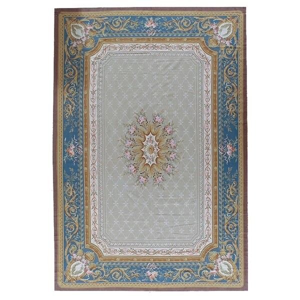 Shop Pasargad Aubusson Grey Hand Woven Wool Area Rug 11
