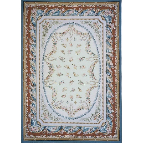 Aubusson Ivory New Zealand Wool Handmade Area Rug 11 8 X 17 9