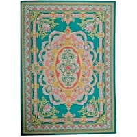 Pasargad Aubusson Green Floral Handmade Wool Area Rug - 11'7 x 17'11