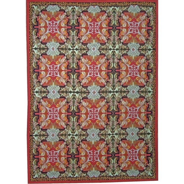 Pasargad Aubusson Handmade Red Wool Area Rug 12 9 X 20 1 Free