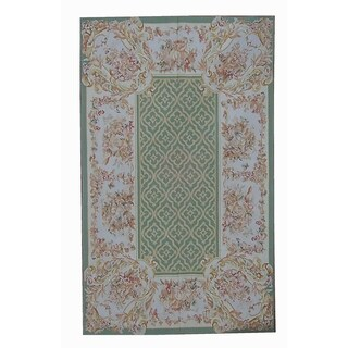 "Aubusson Hand-Woven Green New Zealand Wool Rug (10' 9"" X 15'11"")"