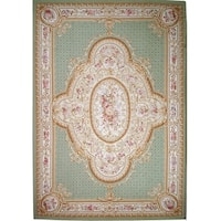 "Aubusson Hand-Woven Green New Zealand Wool Rug (12' 1"" X 17' 4"")"