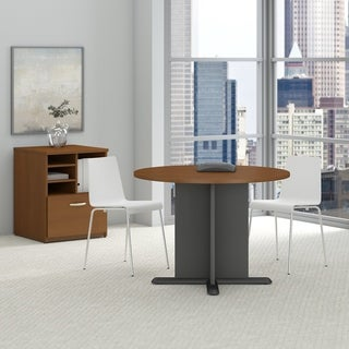 Series C 42 Inch Round Conference Table in Warm Oak