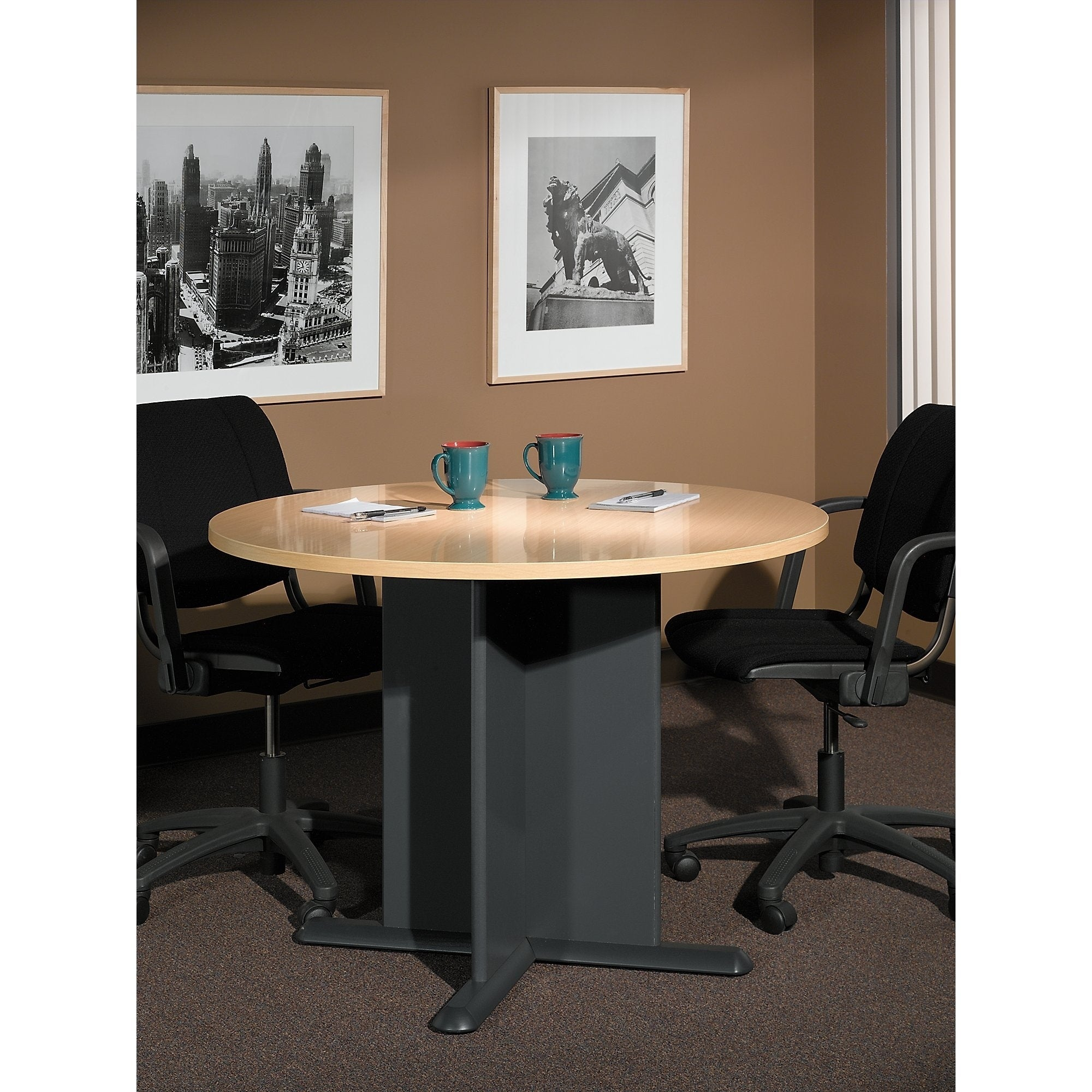 Beau Bush Business Series A U0026 C 42 Inch Round Conference Table In Beech