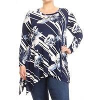 Women's Plus Size Navy Floral Striped Tunic