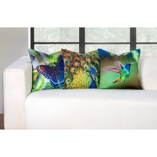 Siscovers Vibrant 3 Piece Humming Bird, Peacock and Butterfly Accent Pillow Set
