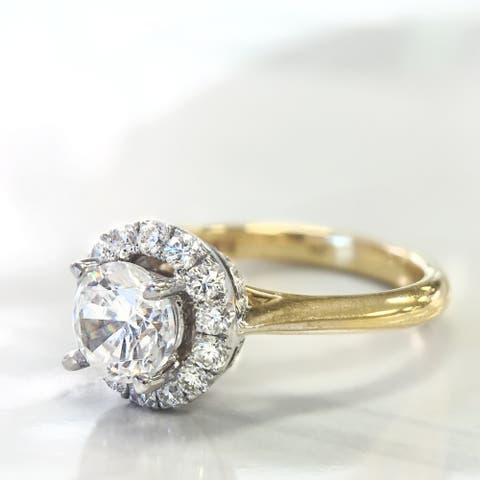 Lihara and Co. 18k White and Yellow Gold 2/5ct TDW White Diamond Halo Semi-Mount Engagement Ring (G-H, VS1-VS2) - White G-H