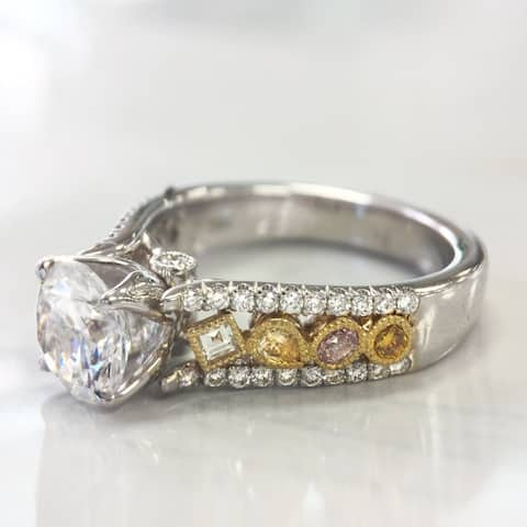 Lihara and Co. 18k White and Yellow Gold 2/3ct TDW White and Fancy Colored Diamond Semi-Mount Engagement Ring - White G-H