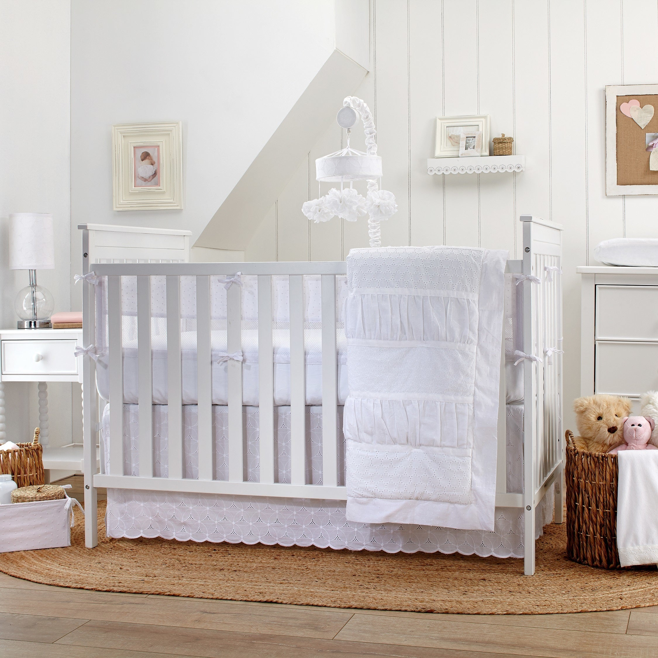 White Carters Solid Dust Ruffle Home Kitchen Nursery Bedding