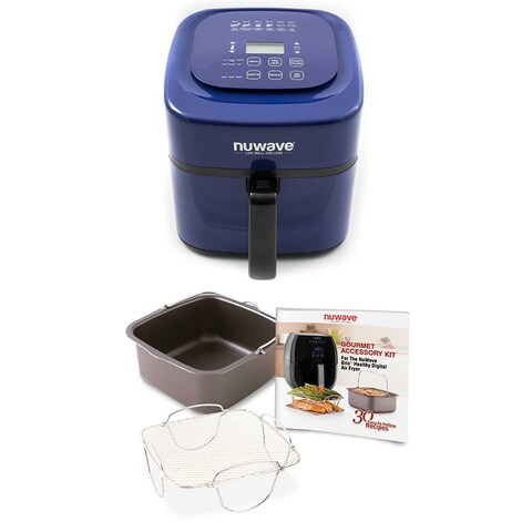 Nuwave 6 qt. Brio Air Fryer (Blue) w/ 4 pc. Gourmet Accessory Kit