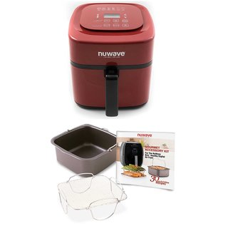 Nuwave 6 qt. Brio Air Fryer (Red) w/ 4 pc. Gourmet Accessory Kit