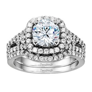 TwoBirch Bridal Set (Two Rings) in 10k Gold set with Moissanite (1.47tw )