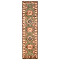 Handmade Herat Oriental Afghan Hand-Knotted Kazak Wool Runner - 2'6 x 9'9