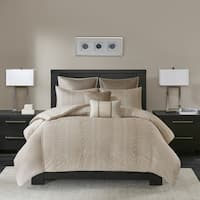 Madison Park Iris Natural 7-piece King/ Cal King Size Embroidered Duvet Cover Set (As Is Item)