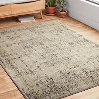 """Antique Inspired Vintage Stone/ Brown Distressed Rug - 6'7"""" x 9'2"""""""