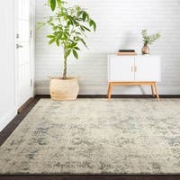 "Antique Inspired Vintage Ivory/ Grey Distressed Rug - 6'7"" x 9'2"""