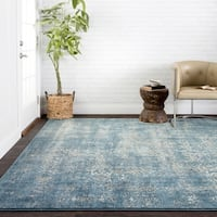 Antique Inspired Vintage Blue/ Taupe Distressed Rug - 6'7 x 9'2