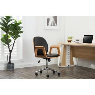 Happ Mid Century Black and Walnut Wood Desk Chair