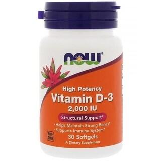 Now Foods Vitamin D-3 2000 IU (30 Softgels)