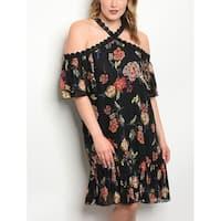 JED Women's Plus Size Floral Halter Floral Tunic Dress