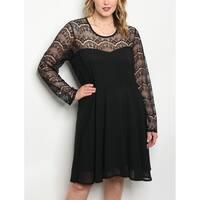 JED Women's Plus Size Long Sleeve Lace Little Black Dress