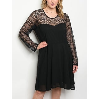 JED Women's Plus Size Long Sleeve Lace Little Black Dress