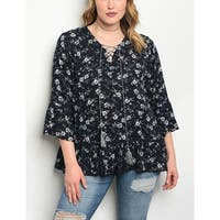 JED Women's Plus Size 3/4 Sleeve Floral Top