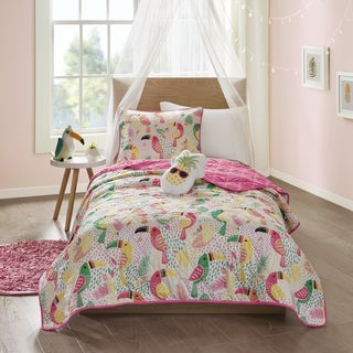 Mi Zone Kids Tutti the You Can Toucan Pink 3-piece Coverlet Set