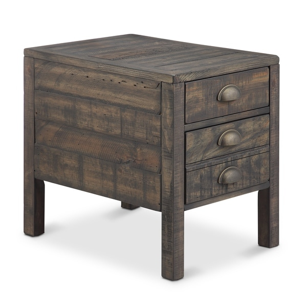 Gentil Vernon Rustic Weathered Bourbon Rectangular End Table With Storage
