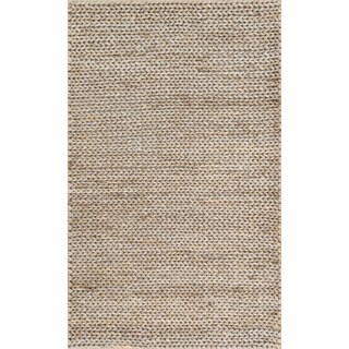 Hand-woven Natural Pale Grey Jute Farmhouse Rug (2' x 5')