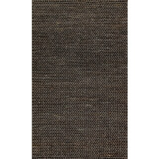 Hand-woven Natural Charcoal Brown Jute Farmhouse Rug (2' x 5')
