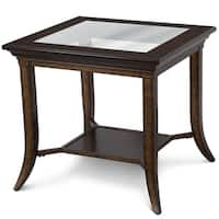 Parsons Transitional Cognac and Antique bronze Rectangular End Table