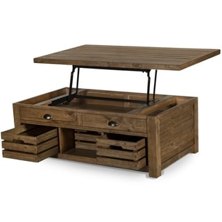 Stratton Rustic Warm Nutmeg Lift Top Storage Coffee Table with Casters