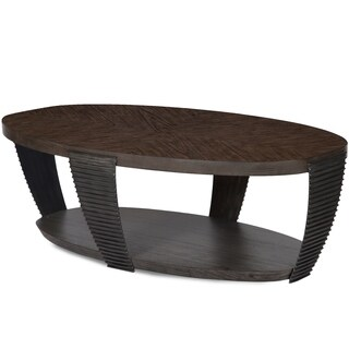 Kendrick Contemporary Chocolate and Aged Pewter Oval Coffee Table