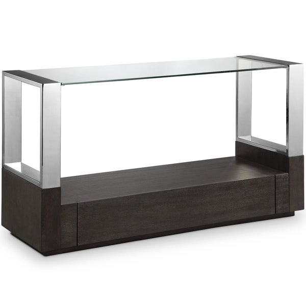 Revere Contemporary Graphite Glass Top Entryway Table with Storage