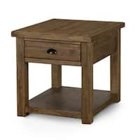 Stratton Rustic Warm Nutmeg Rectangular End Table with Storage