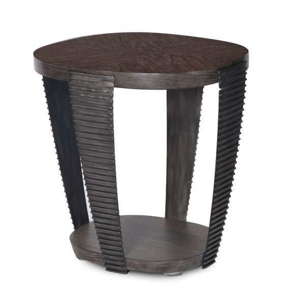 Kendrick Contemporary Chocolate and Aged Pewter Oval End Table