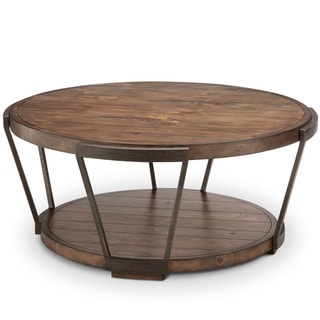 Yukon Industrial Bourbon and Aged Iron Round Coffee Table with Casters