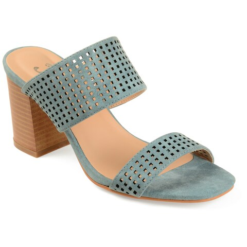 Journee Collection Women's 'Sonya' Dual-strap Laser-cut Heeled Mules