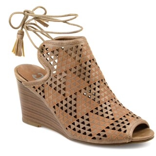 Journee Collection Women's 'Tandra' Peep-toe Faux Leather Laser-cut Ankle Wrap Wedges