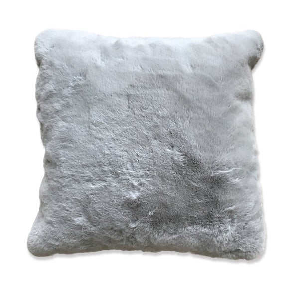 Silver Single Color Faux Fur Material Home Decor Pillow